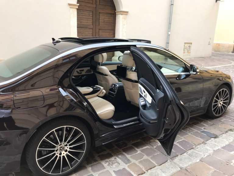 Wynajem aut do ślubu Mercedes S klasa wnetrze
