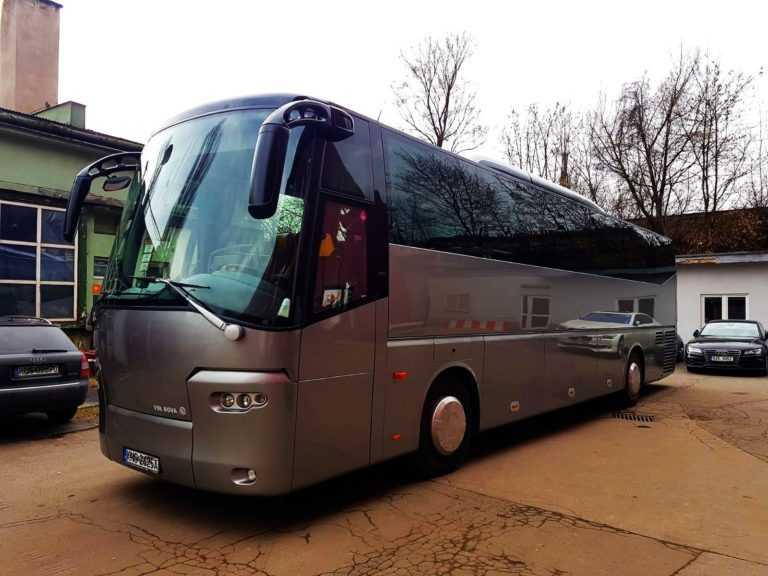 wynajem autobusów na śluby i wesela przód autobusu