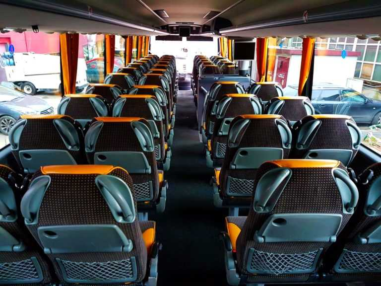 wynajem autobusów na wesela wnętrze autobusu