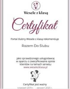 Razem do Slubu certyfikat Wesele z Klasa